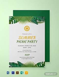Invitation Wording Party Free Summer Picnic Party Invitation Template Word Psd