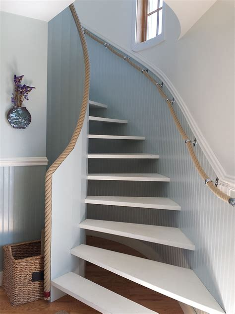 banister handrails rope handrail stanchions rope in home interior design