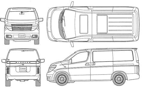 Daihatsu Gran Max Mb Backgrounds by 2003 Nissan Elgrand X Minivan Blueprints Free Outlines