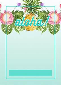 Pineapple luau perimeter free printable birthday invitation template greetings island for Tropical invitation template