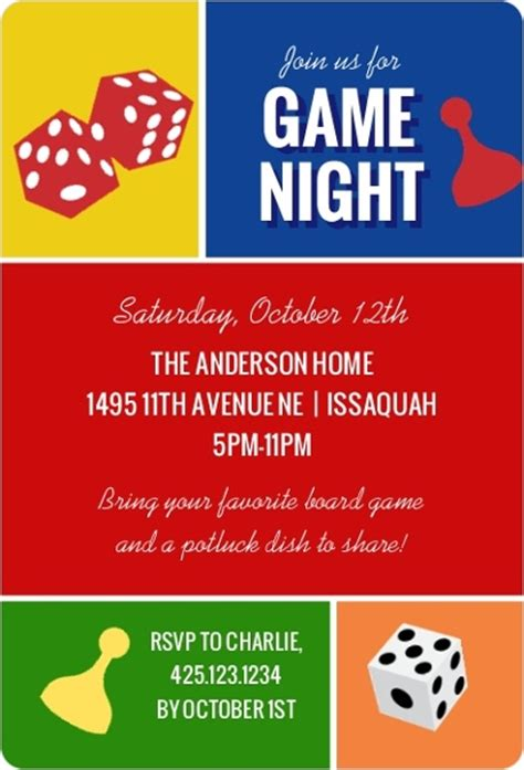 colorblock game night invitation game night invitations