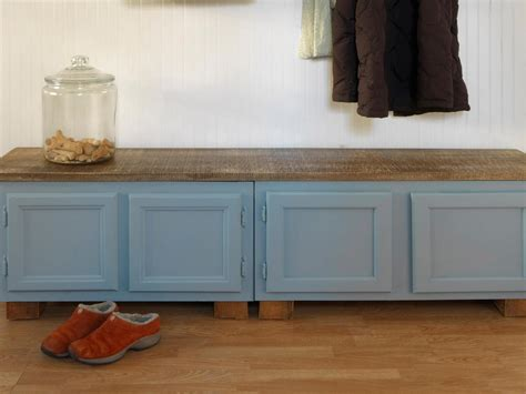 upcycle kitchen cabinets   storage bench  tos diy