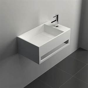 Lave Main 15 Cm Profondeur : lave mains suspendu 50x30 cm mati re composite mineral ~ Melissatoandfro.com Idées de Décoration