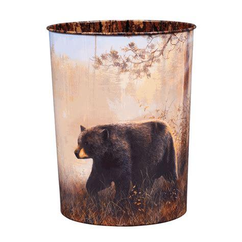 black bear scene tin waste basket