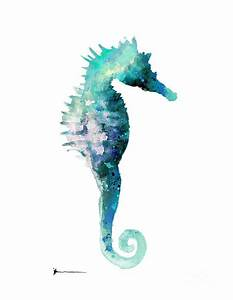 Blue Seahorse Watercolor Art Print Painting Painting by ...