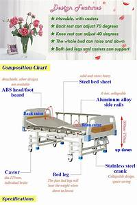 3 Function Hospital Bed Abs Panel Height Adjustable