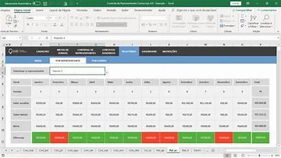 Excel Planilha Planilhas Representantes Comerciais Comercial Representante