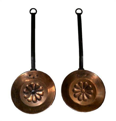 vintage long handle copper pansbedwarmers  embossed hammered flower design black metal