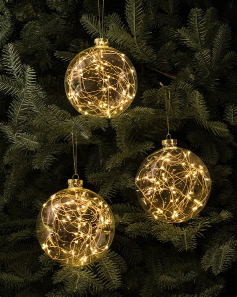 led fairy light bauble set of 3 balsam hill