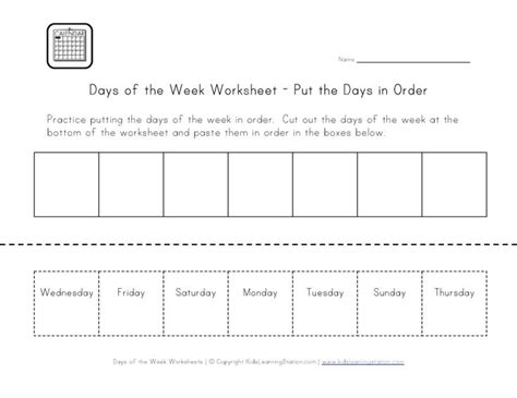 Days Of The Week Worksheet, Cut And Paste The Days In