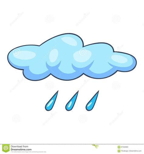 Ícone Azul Da Chuva Da Nuvem Estilo Dos Desenhos Animados