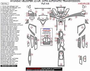 2012 Hyundai Veloster Full Interior Dash Trim Kit  50 Pcs