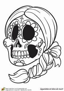 Dessin Tete De Mort Avec Rose : t te de mort en sucre mexicaine colorier coloriages et activit s pour halloween pinterest ~ Melissatoandfro.com Idées de Décoration