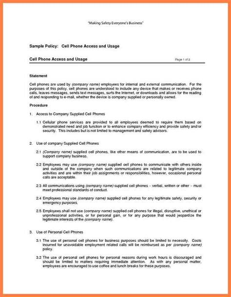 company cell phone policy template company letterhead