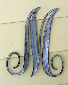 polished metal script letter quotmquot door or wall hanging With old english metal letters