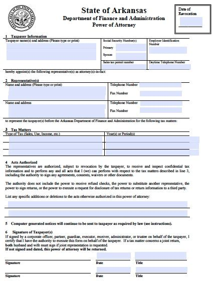 arkansas power  attorney forms  templates
