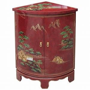 Meuble Chinois Rouge : meuble d 39 angle encoignure chinoise rouge magasin du ~ Teatrodelosmanantiales.com Idées de Décoration