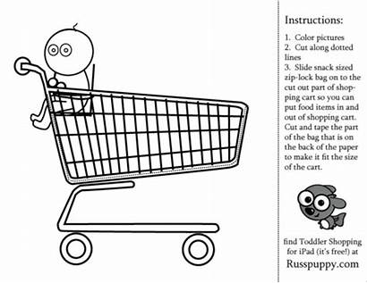 Coloring Shopping Pages Preschool Activity Toddler Grocery