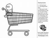 Coloring Shopping Pages Preschool Activity Toddler Colouring Grocery Printable Basket Fun Link Playschool Sheets Inside Kid sketch template