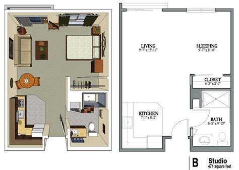 One Bedroom Apartment Layout Plan by Studio Studio Floorplans In 2019 Studio Apartment