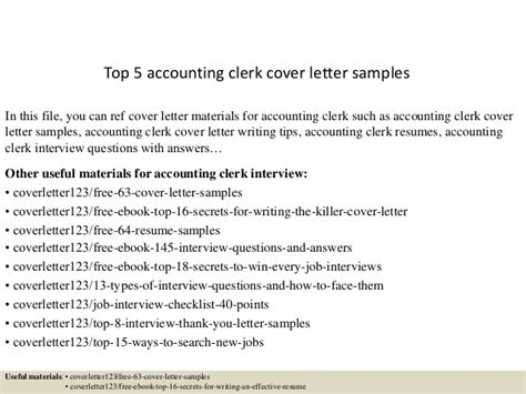 top 5 accounting clerk cover letter sles