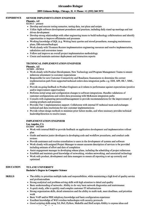implementation engineer resume sles velvet