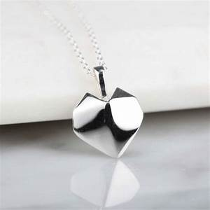 stunning silver origami heart necklace by nest ...