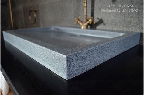 gray granite stone trough bathroom sink corsica