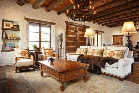 exposed wood beams living room southwestern  spanish