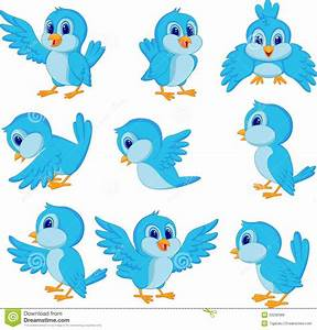 Cute blue bird cartoon stock vector. Illustration of funny ...