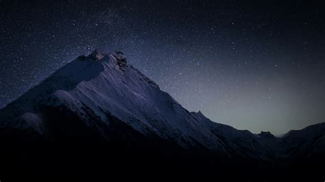 wallpaper dark mountains stars hd nature