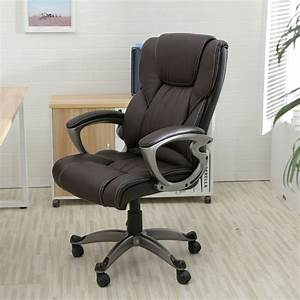 Brown PU Leather High Back Office Chair Executive Task ...  Ergonomic