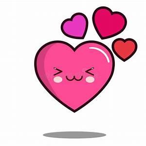 Vector Plano Del Diseño Del Amor Del Emoticon Del Corazón Del Personaje De Dibujos Animados Del
