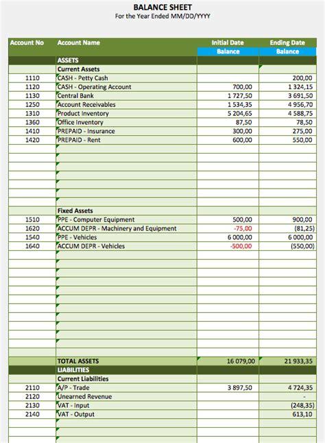 balance sheet report exceltemplatenet