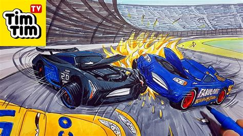 draw cars  lightning mcqueen jackson storm  cruz ramirez crash scene coloring