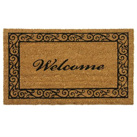 Home Doormat by Rubber Cal Estate Style 24 In X 57 In Coco Coir Welcome