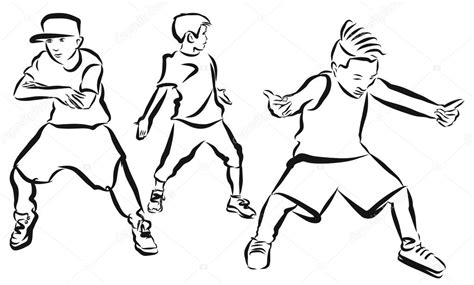 Streetdance Kleurplaat by Three Boys Coloring Page Hip Hop Choreography Stock