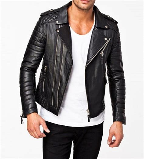 moto biker jacket new men 39 s stylish motorcycle slim fit genuine lambskin