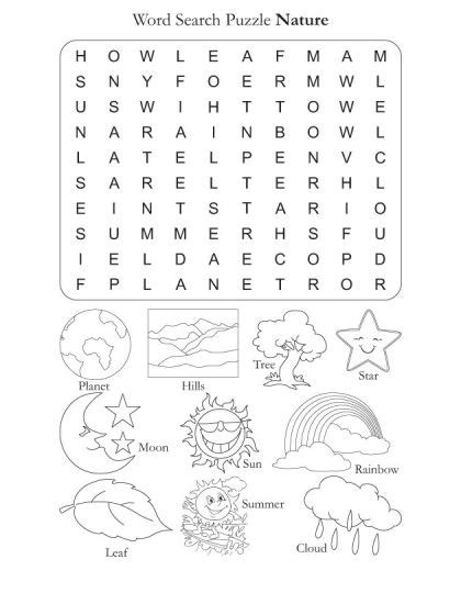 Free Word Search Puzzle Nature  English Worksheets