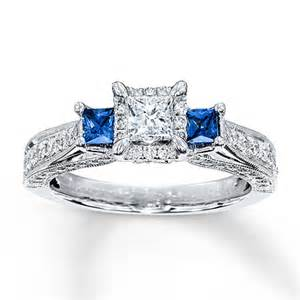 kays jewelers engagement rings sapphire ring 1 ct tw princess cut 14k white gold
