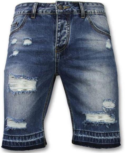 bolcom enos korte broeken heren slim fit ripped shorts blauw maten