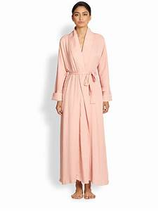 Lyst donna karan tissue crepe robe in pink for Robe crepe