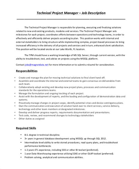 9+ Project Manager Job Description Samples  Sample Templates