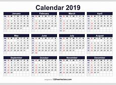 Printable 2019 Calendar with Week Numbers Free by