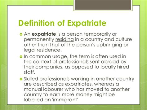 meaning of ex pat the expatriate experience