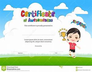 certificate of awesomeness template - kids diploma or certificate of awesomeness template with