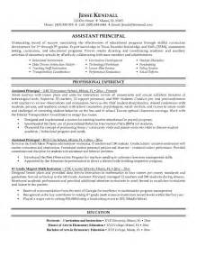 resume for school administrator free assistant principal resume exle
