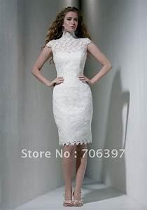 classic high neck sleevless knee length white wedding With knee high dresses for weddings