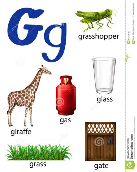 Things That Start With The Letter G Stock Vector