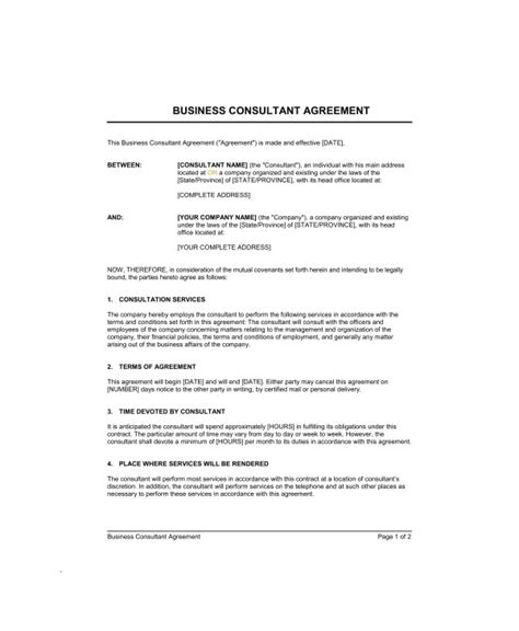 marketing consultant contract examples  word